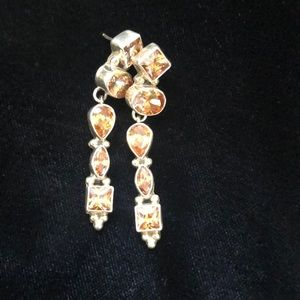 925 Sterling Silver and Citrine(?) earrings